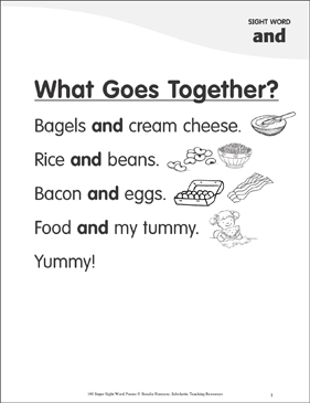 "What Goes Together?: Poem for Sight Word ""and"" - Printable Worksheet"