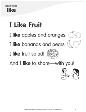 "I Like Fruit: Poem for Sight Word ""like"" - Printable Worksheet"