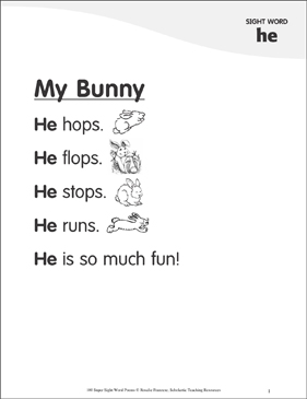 "My Bunny: Poem for Sight Word ""he"" - Printable Worksheet"