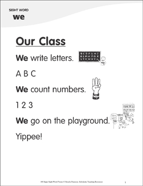 "Our Class: Poem for Sight Word ""we"" - Printable Worksheet"