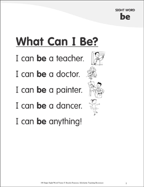 "What Can I Be?: Poem for Sight Word ""be"" - Printable Worksheet"