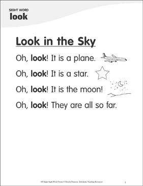"Look in the Sky: Poem for Sight Word ""look"" - Printable Worksheet"
