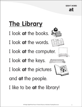"The Library: Poem for Sight Word ""at"" - Printable Worksheet"