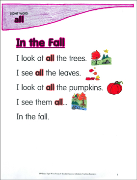 "In the Fall: Poem for Sight Word ""all"" - Printable Worksheet"