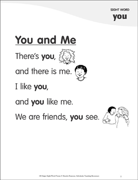 "You and Me: Poem for Sight Word ""you"" - Printable Worksheet"