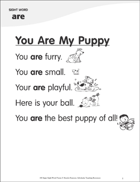 "You Are My Puppy: Poem for Sight Word ""are"" - Printable Worksheet"