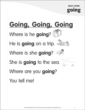"Going, Going, Going: Poem for Sight Word ""going"" - Printable Worksheet"