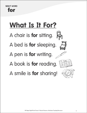 "What Is It For?: Poem for Sight Word ""for"" - Printable Worksheet"