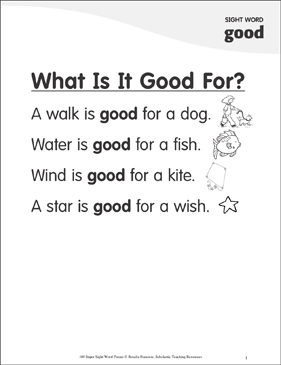 "What Is It Good For?: Poem for Sight Word ""good"" - Printable Worksheet"