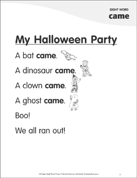 "My Halloween Party: Poem for Sight Word ""came"" - Printable Worksheet"