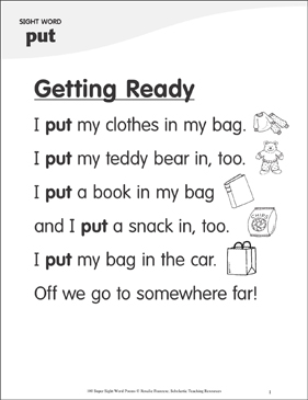 "Getting Ready: Poem for Sight Word ""put"" - Printable Worksheet"