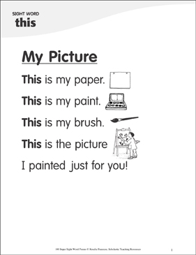 "My Picture: Poem for Sight Word ""this"" - Printable Worksheet"