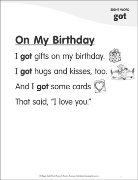 "On My Birthday: Poem for Sight Word ""got"" - Printable Worksheet"