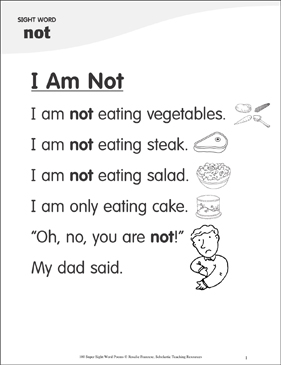 "I Am Not: Poem for Sight Word ""not"" - Printable Worksheet"