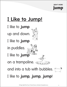 "I Like to Jump!: Poem for Sight Word ""jump"" - Printable Worksheet"