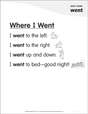 "Where I Went: Poem for Sight Word ""went"" - Printable Worksheet"