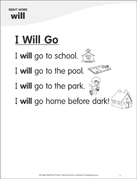 "I Will Go: Poem for Sight Word ""will"" - Printable Worksheet"