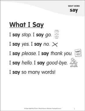 "What I Say: Poem for Sight Word ""say"" - Printable Worksheet"