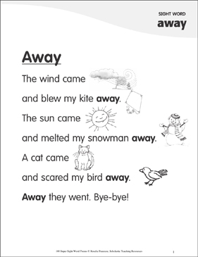 "Away: Poem for Sight Word ""away"" - Printable Worksheet"