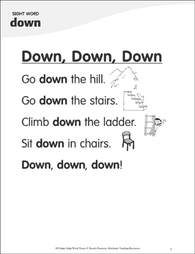"Down, Down, Down: Poem for Sight Word ""down"" - Printable Worksheet"