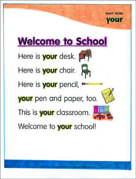 "Welcome to School: Poem for Sight Word ""your"" - Printable Worksheet"