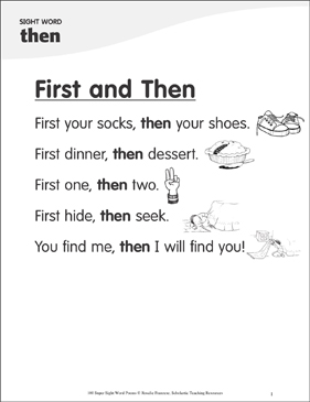 "First and Then: Poem for Sight Word ""then"" - Printable Worksheet"
