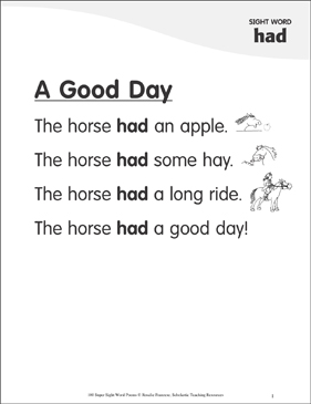 "A Good Day: Poem for Sight Word ""had"" - Printable Worksheet"