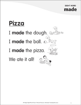"Pizza: Poem for Sight Word ""made"" - Printable Worksheet"
