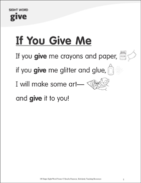 "If You Give Me: Poem for Sight Word ""give"" - Printable Worksheet"