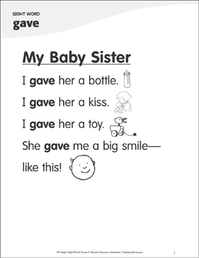 "My Baby Sister: Poem for Sight Word ""gave"" - Printable Worksheet"