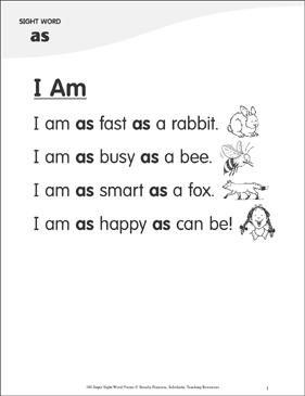 "I Am: Poem for Sight Word ""as"" - Printable Worksheet"