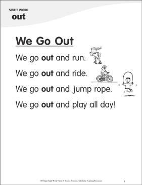 "We Go Out: Poem for Sight Word ""out"" - Printable Worksheet"