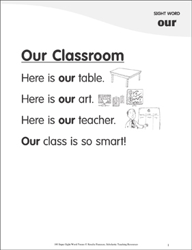 "Our Classroom: Poem for Sight Word ""our"" - Printable Worksheet"