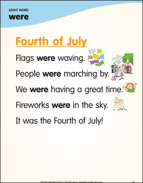 "Fourth of July: Poem for Sight Word ""were"" - Printable Worksheet"