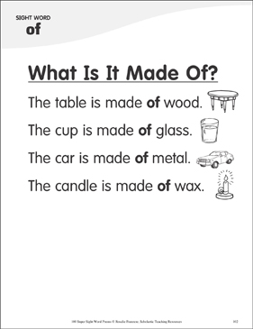 "What Is It Made Of?: Poem for Sight Word ""of"" - Printable Worksheet"