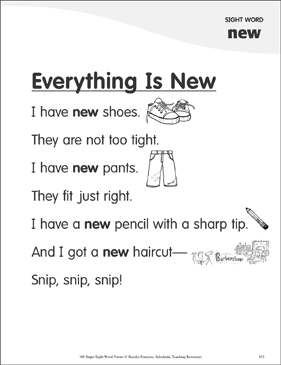 "Everything Is New: Poem for Sight Word ""new"" - Printable Worksheet"
