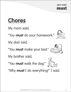 "Chores: Poem for Sight Word ""must"" - Printable Worksheet"