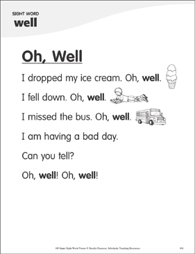 "Oh, Well: Poem for Sight Word ""well"" - Printable Worksheet"