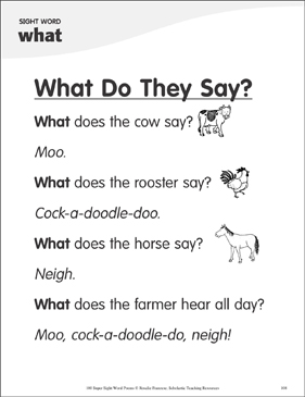 "What Do They Say?: Poem for Sight Word ""what"" - Printable Worksheet"