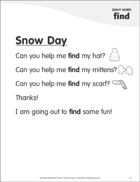 "Snow Day: Poem for Sight Word ""find"" - Printable Worksheet"