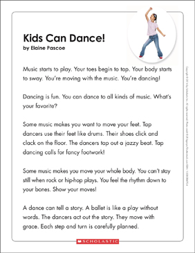 Kids Can Dance! Text & Organizer - Printable Worksheet