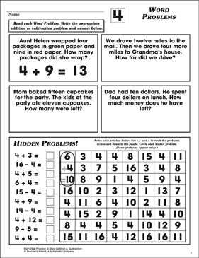 Word Problems (Facts Family 4) - Printable Worksheet