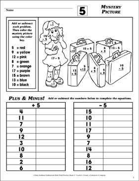 Mystery Picture (Facts Family 5) - Printable Worksheet