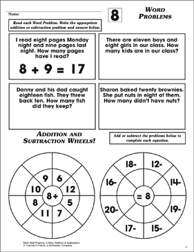Word Problems (Facts Family 8) - Printable Worksheet