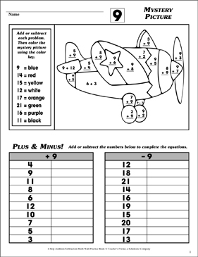 Mystery Picture (Facts Family 9) - Printable Worksheet