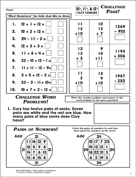 Challenge Page! (10's, 11's, & 12's Fact Families) - Printable Worksheet