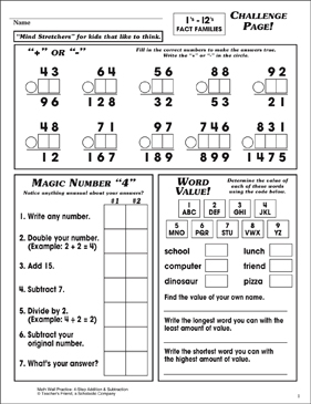 Challenge Page! Set 2 -1's (12's Fact Families) - Printable Worksheet