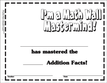 I'm a Math Wall Mastermind! Certificate Award - Printable Worksheet