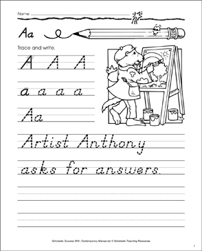 Uppercase A, Lowercase a: Contemporary Manuscript Practice - Printable Worksheet
