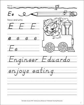 Uppercase E, Lowercase e: Contemporary Manuscript Practice - Printable Worksheet